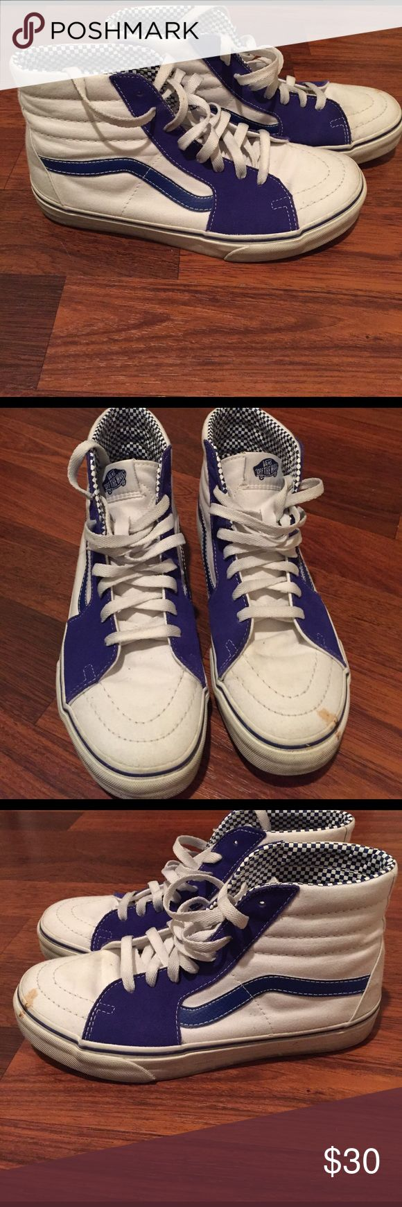 MOVING SALE! Need to get rid of in 2 wks! MAKE OFR Vans Sk8-Hi Men's 7.5/ Women's 9.0 with extra set of matching midnight blue laces Vans Shoes Sneakers