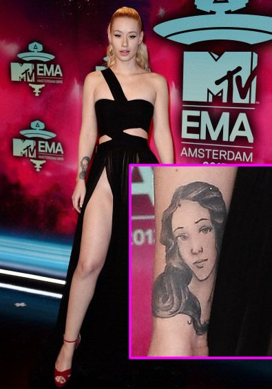 Iggy Azalea's Arm Tattoo of the Roman Goddess Venus http://www.popstartats.com/iggy-azalea-tattoos/arm-birth-of-venus/