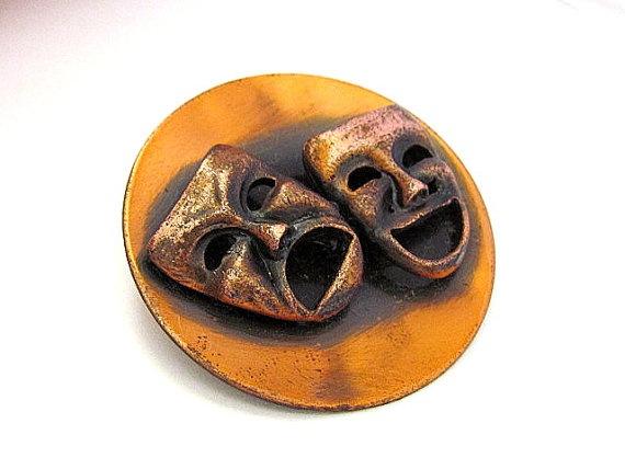 Vintage Mid Century Copper Drama Happy Sad Faces by CoyoteMoon62, $9.99