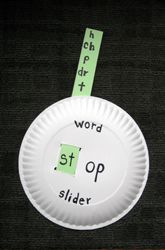 """Teachers make it easier for kids to read English by helping them see patterns in the words they're learning. Teachers use word families, specific groups of word endings& beginnings that consistently have the same pronunciation. kids make """"word sliders"""" out of paper plates. """"Word sliders"""" can help child interact w words & become more adept at visualizing word patterns."""