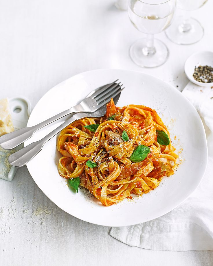 Stir smoked mackerel fillets and tagliatelle into spicy tomato sauce for a quick satisfying midweek dinner. If you're not a fan of mackerel, try this recipe with prawns or hot-smoked salmon.