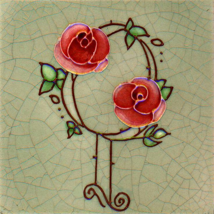 Gloss Ceramic Tile - Vintage Art Nouveau Reproduction Tile - Full Rose Design…