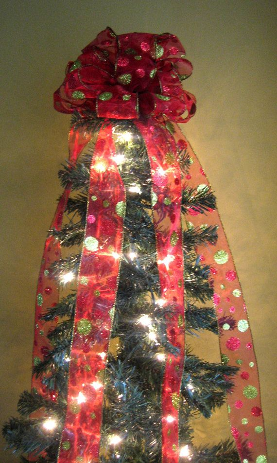 red lime green christmas tree bow topper tree topper with 5 ft streamers x mas tree topper. Black Bedroom Furniture Sets. Home Design Ideas