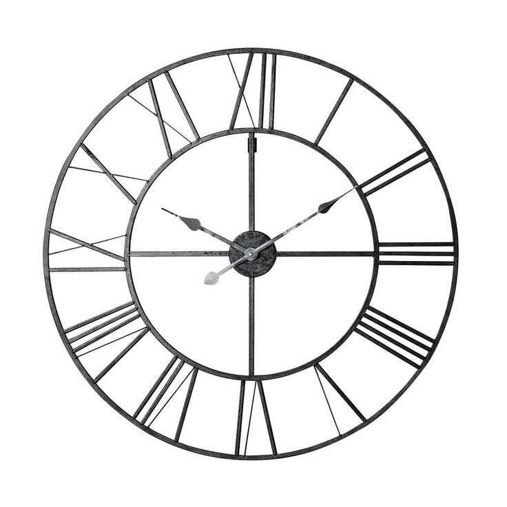 Horloge en métal noir D 80 cm FACTORY