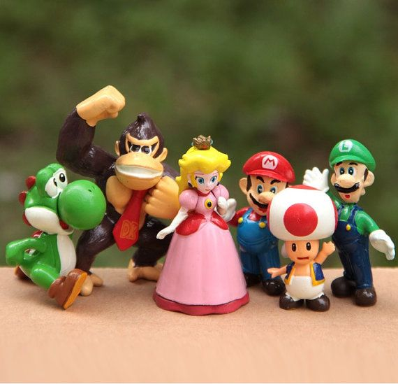 Mario Bros CAKE TOPPER Princess Peach Luigi by BiancasBoutiqueBows
