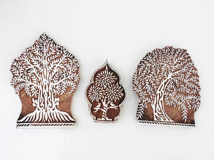Love the idea of block printing for yourself? Print trees on fabric or canvas using the wooden block #indianshelf #woodenprintingblocks http://goo.gl/2vzcTc