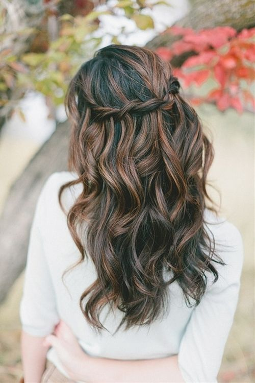 Red/brown highlights on dark brown hair: great color. I also can't wait until I can do this style with my hair.
