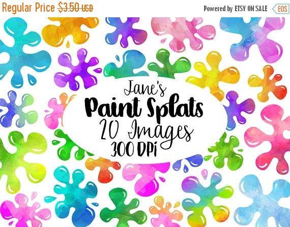 Watercolor Paint Splats Clipart  Slime Download