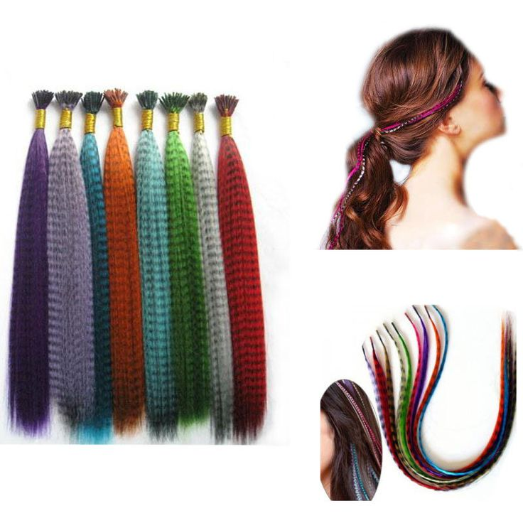 1 Bundle Colorful Long Straight Synthetic Hair Extensions Hair Decorations Supplies