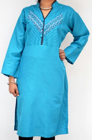 Turquoise Blue Cotton Long Kurta With Diagonal Pintucks and Embroidered Yoke