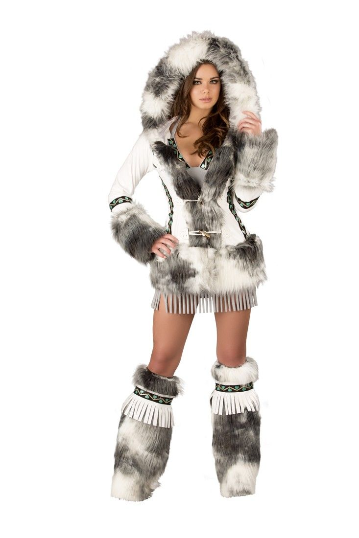 Hooded coat with tooth toggle closure and flat sequin trim. Fur is doubled and hood is extra-wide to look like a real Eskimo.