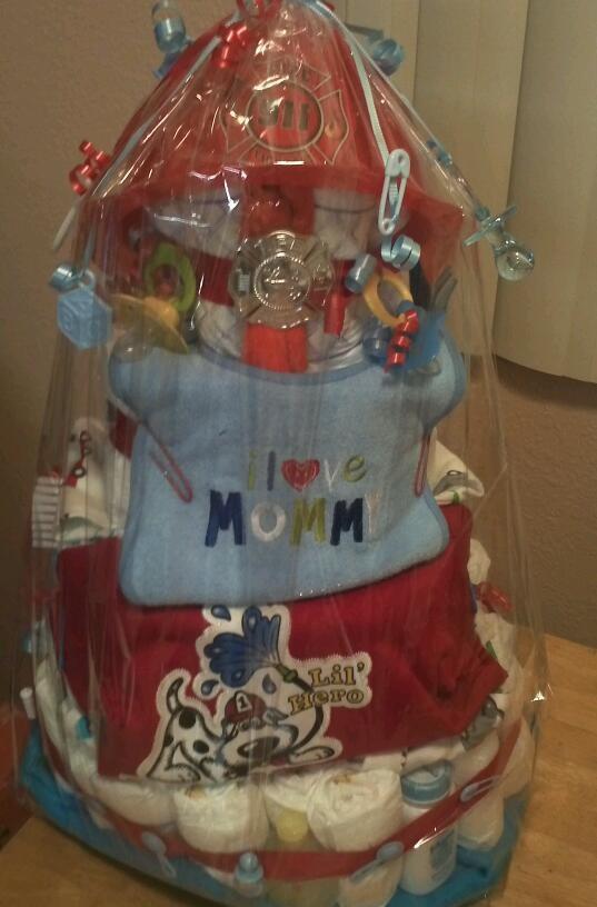 My cute fireman diaper cake