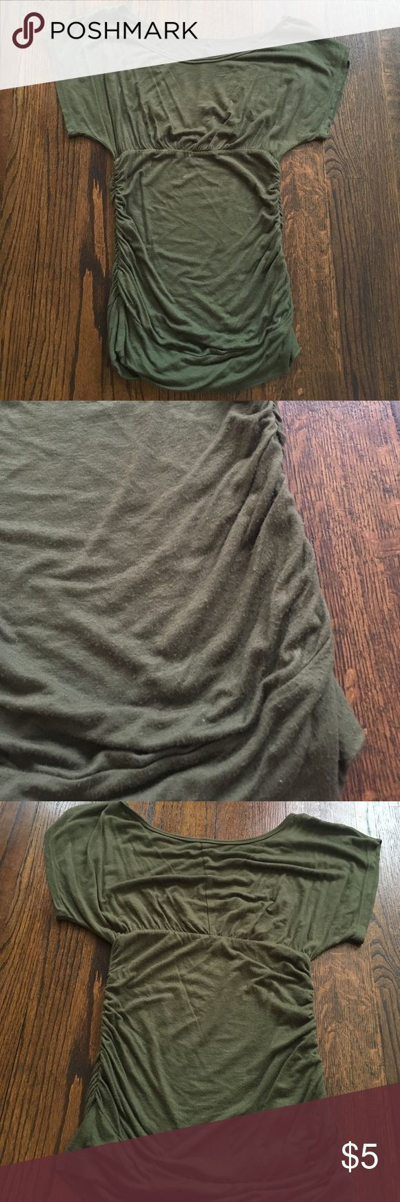 Olive green batwing top Olive green top with rouched sides and batwing sleeves. Some piling from wear. No tags but fits like an XS Tops