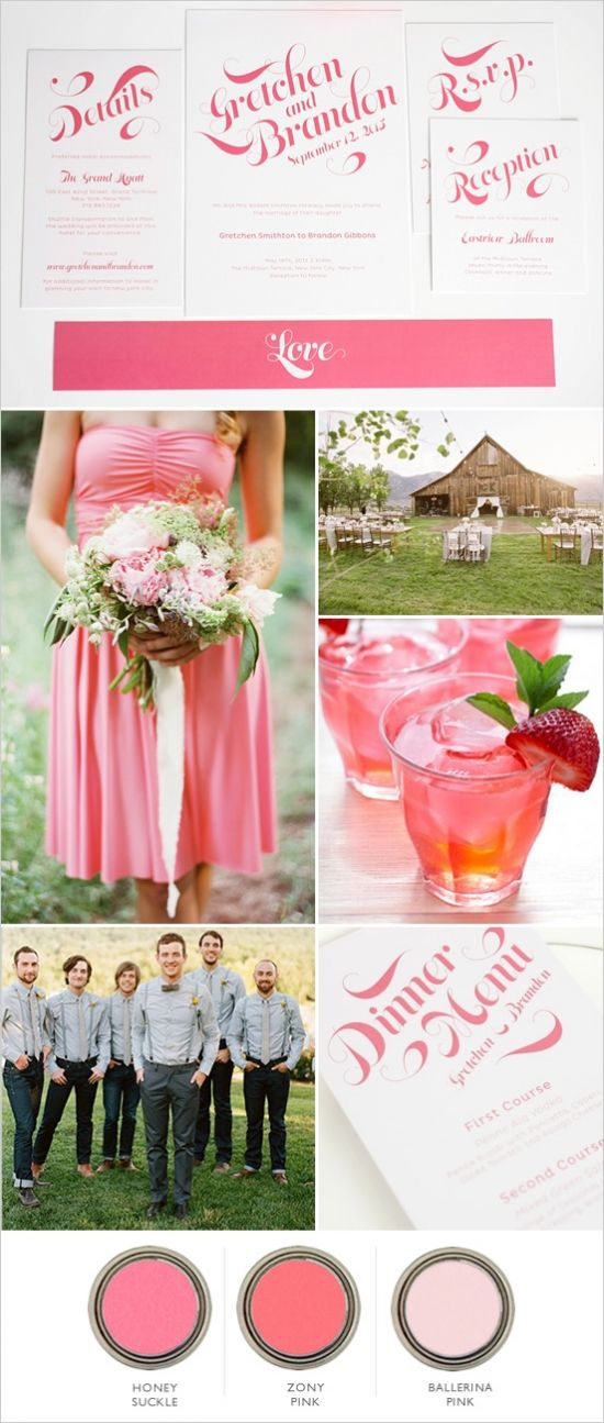 pink farm wedding ideas. blush and ballerina pink with mix of other warm pinks