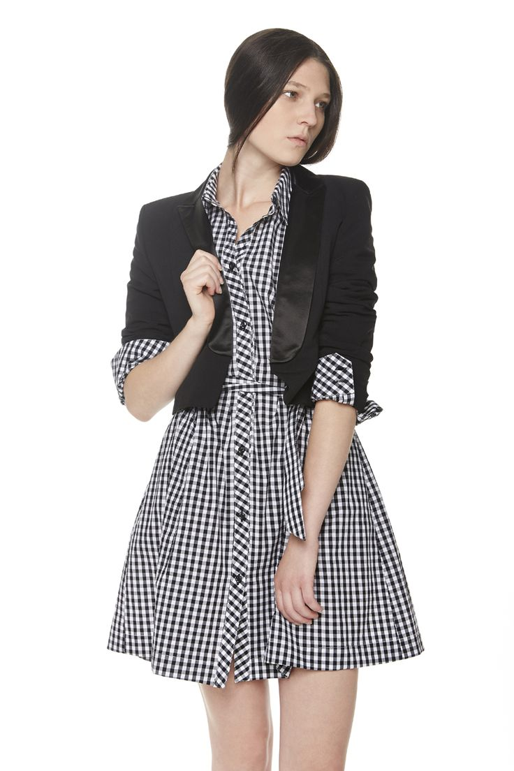 #ERAKLE #SS16 black mini jacket with satin collars, vichy shirt dress