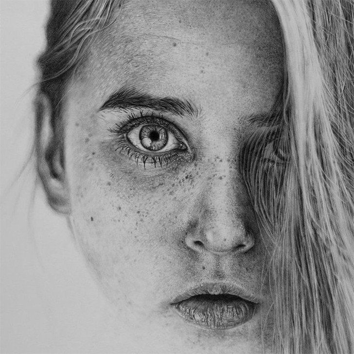 The detail in this drawing is off the charts! Artist Monica Lee created this stunning photo-realistic drawing with just a pencil and tons of creativity. Amazing!