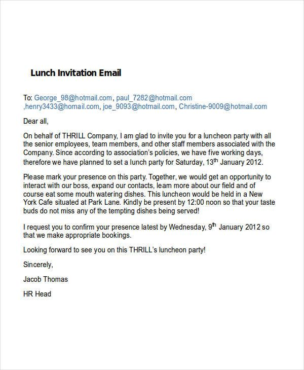 20 Format Of Lunch Invite Email Template And Review Di 2020