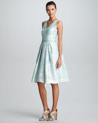Carolina Herrera Embroidered Cropped Bolero & Baroque Devore Dress - Neiman Marcus