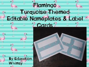 These are 2 pages that are editable in our Flamingo Turquoise theme. There is a page with 2 editable nameplates and a page with 4 labels cards