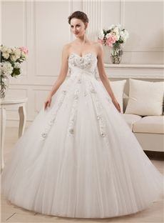 Natural Fall Glamorous & Dramatic Hall Floor-Length Church Ball Gown Winter Wedding Dress