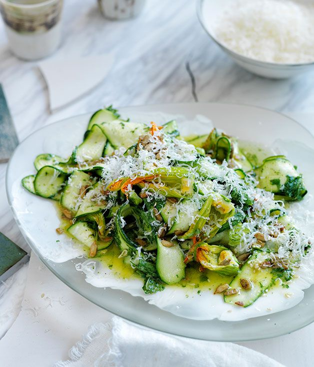 Australian Gourmet Traveller recipe for summer zucchini salad with seeds, parmesan, and mint and lemon dressing.