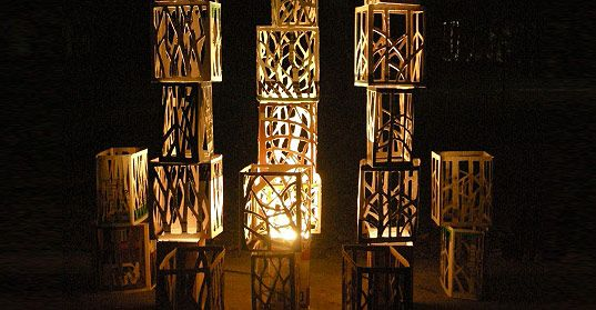 Wine Boxes, Tracey Johnson, used wine boxes, used wine crates, art lighting, light installation, recycled materials art, recycled materials installation