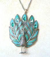 Vintage huge Statement Enamel And Rhinestone Studded Peacock Necklace.