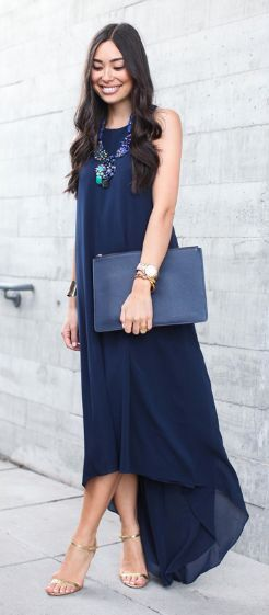 Love this dress. Stitch fix spring 2016 Navy maxi dress statement necklace navy clutch gold strap sandals