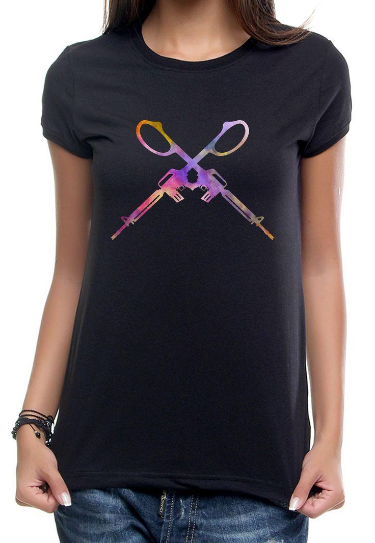 Rainbow Guns Tshirt #vagrancylifestyle #handmade #tshirt #woman