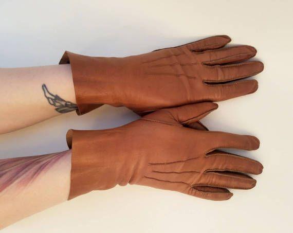 70s guanti guanti guanto misura in pelle marrone guanti Vintage anni