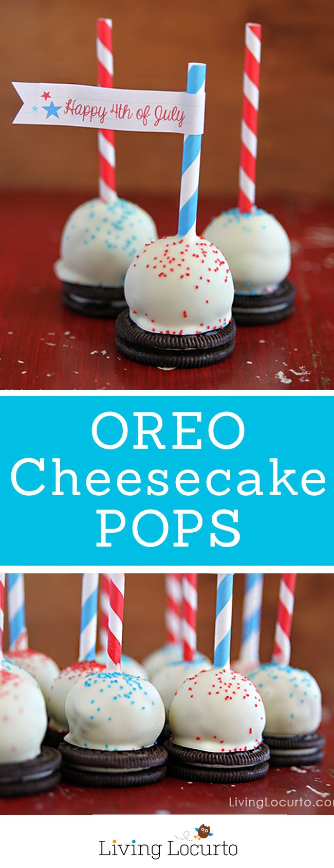 Oreo Cheesecake Pops Recipe. Easy no bake dessert idea for chocolate cheesecake lovers! Make, chill and eat! Fun Holiday Party Food. LivingLocurto.com