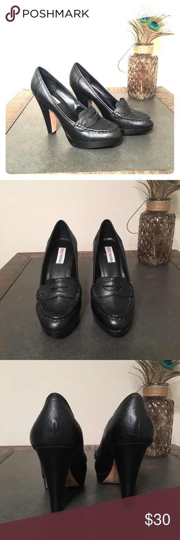 "Black heeled Steve Madden Loafers 4 1/2"" heeled Steve Madden Loafers. Gently worn. Super cute with jeans, a skirt or pants. Steve Madden Shoes Platforms"