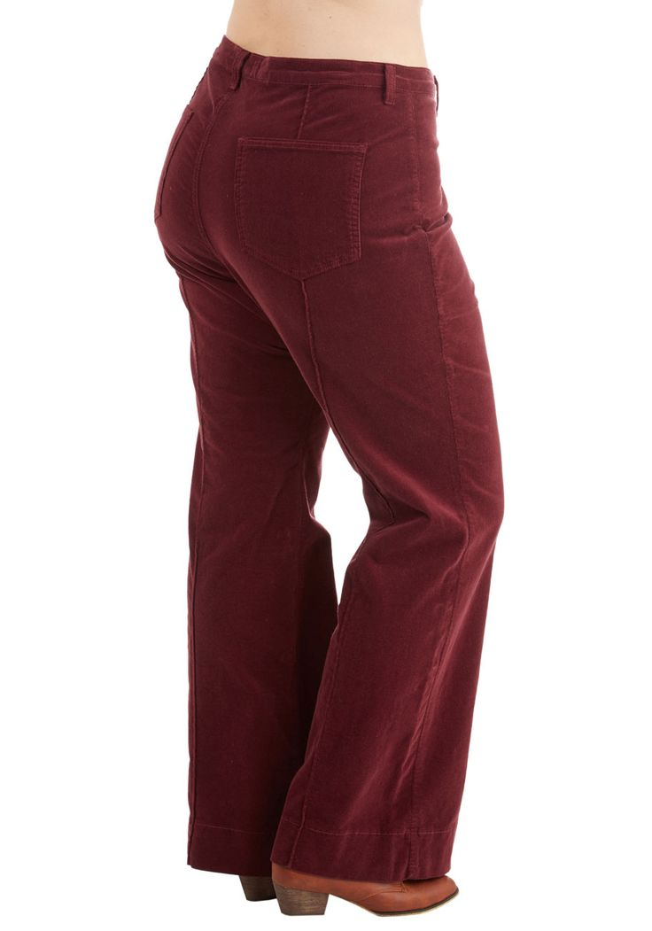 Rocking Major Cords Pants in Barn Burgundy - Plus Size. Put on some groovy tunes and highlight your retro swagger in these flared corduroys! #red #modcloth