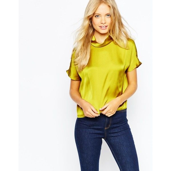 Monki High Neck Premium Satin Top (€33) found on Polyvore featuring tops, blouses, mustard, mustard yellow top, monki, satin top, high neck top and white satin blouse