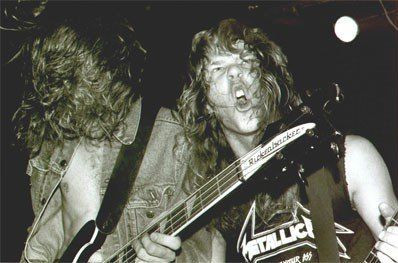 James Hetfield and Cliff Burton, Metallica around 1983