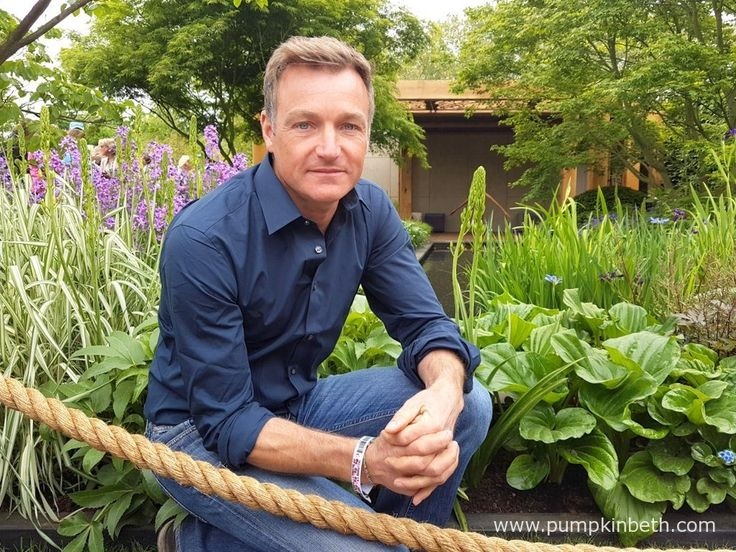 Chris beardshaw at The RHS Chelsea Flower Show, in the garden he designed on behalf of Morgan Stanley, for Great Ormond Street Hospital.