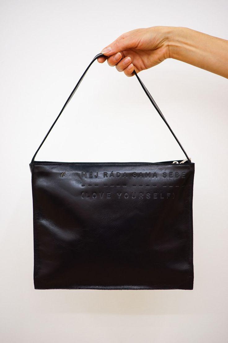 Stylish black handbag Měj ráda sama sebe - Love yourself by Lada Vyvialová I