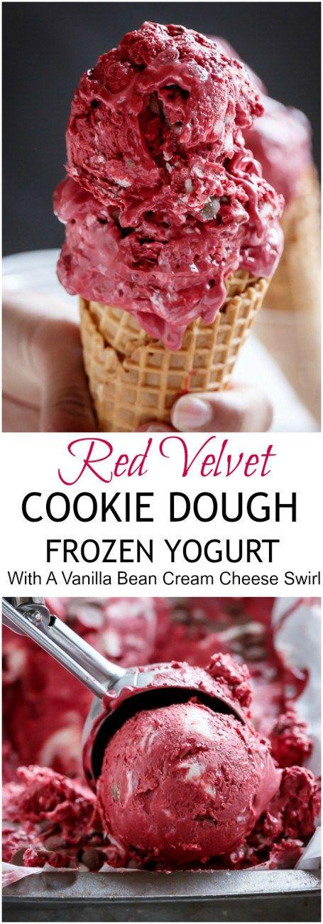 Red Velvet Cookie Dough Frozen Yogurt with a Vanilla Bean Cream Cheese Swirl   http://cafedelites.com