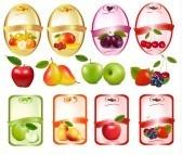 Set di etichette con bacche e frutta. Illustrazione vettoriale. stock photography