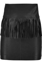 IRO Fringed leather mini skirt