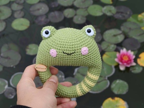 Crochet frog rattle toy Amigurumi animal Baby shower gift First toy for newborn
