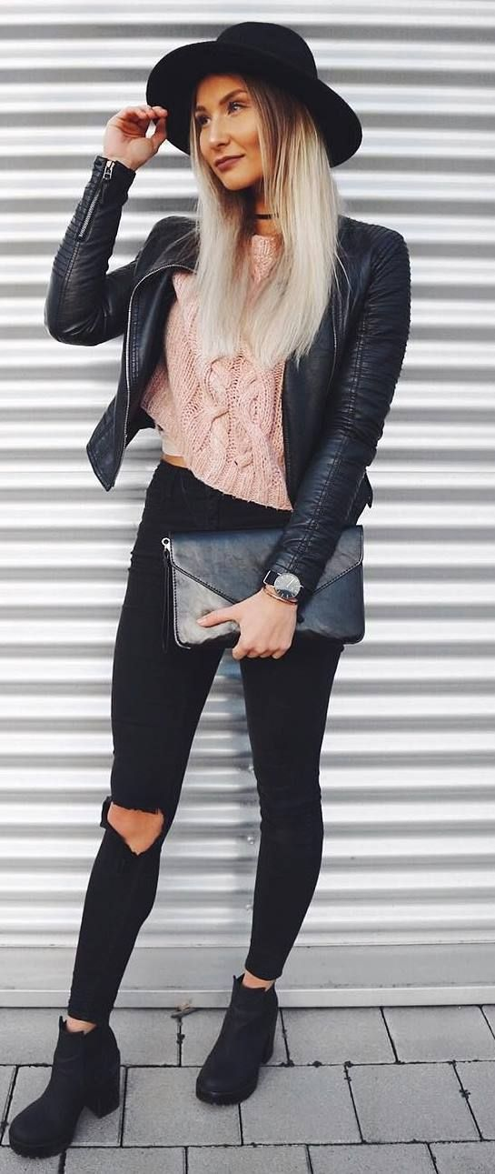 black fall outfit idea : hat + leather jacket + bag + rips + boots + blush sweater