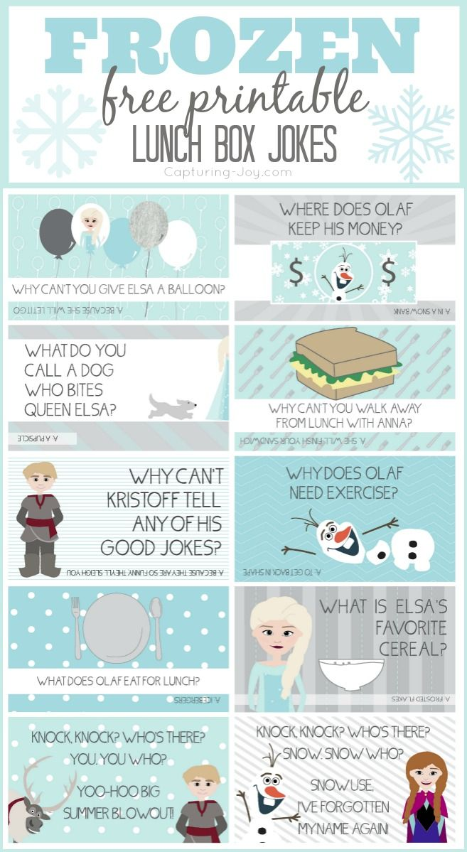 Disney Frozen Ideas: free printable jokes. Great to slip into kids lunches, party fun, or sharing with kids at home.