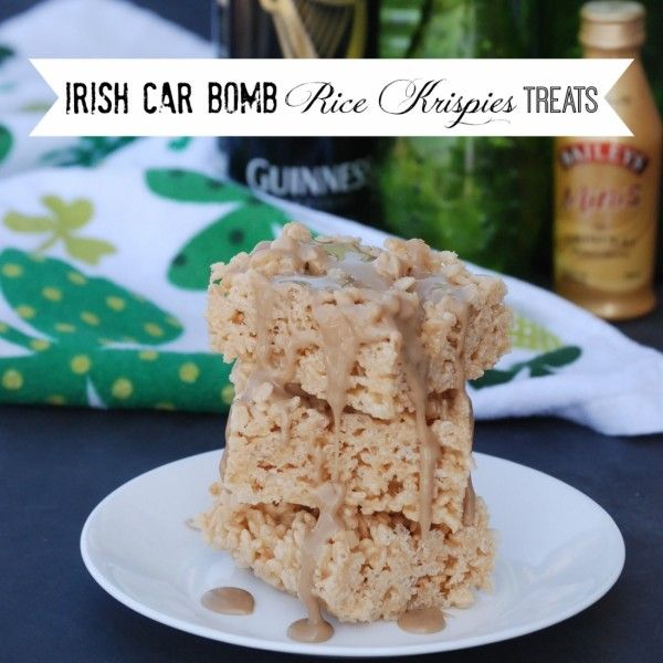 Irish Car Bomb Rice Krispies Treats - the treats have Bailey's in them and they're topped with a Guinness glaze. Delicious!!