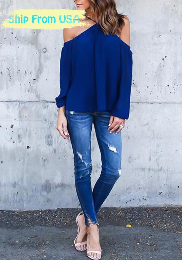 Women Chiffon Strappy Off-shoulder Long Sleeve Top | Online Cheap Tops