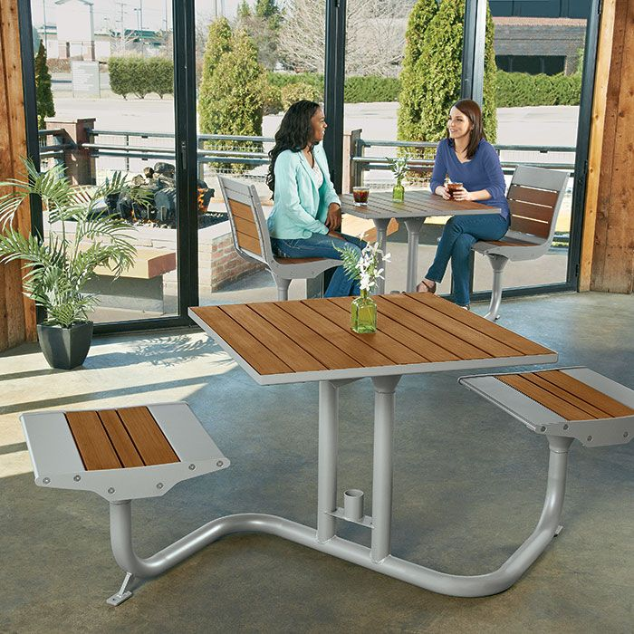 Beacon Hill Bamboo Bistro Table With 2 Flat Seats | Picnic Tables | Upbeat .com
