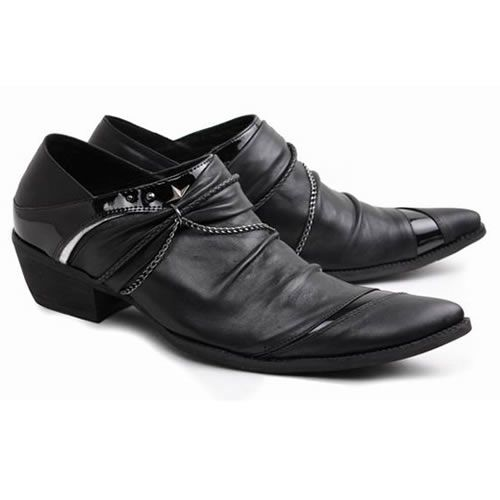 Buy Black Leather High Heel Punk Rock Fashion Dress Shoes for Men SKU-1280566