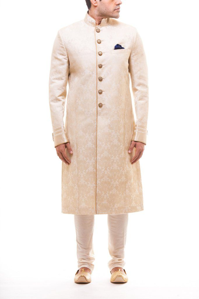 DM Off White Self Sherwani