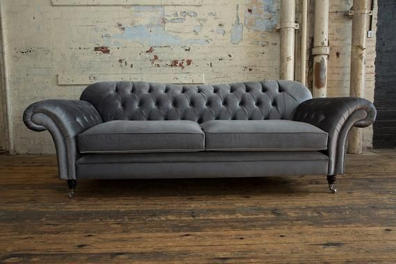 Unique British Handmade Plush Grey Smooth Velvet 2 3 Seater Chesterfield Sofa And Footstool Cushions On Sofa Chesterfield Sofa Chesterfield Sofa Design