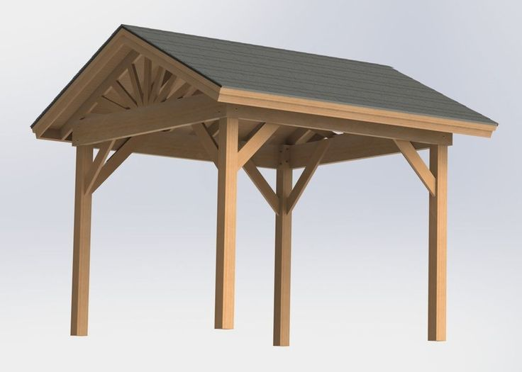 Gable roof gazebo with open sides plans easy to build for Simple gazebo plans